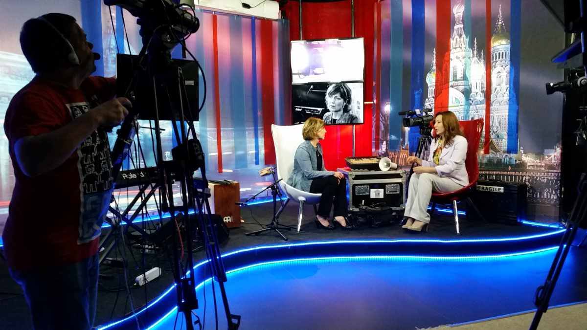 TV interview in Russia